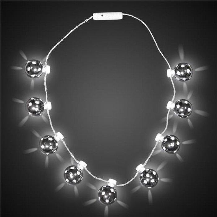 LED Silver Disco Ball Necklace