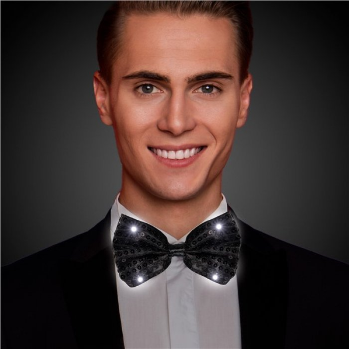 LED Black Sequin Bow Tie