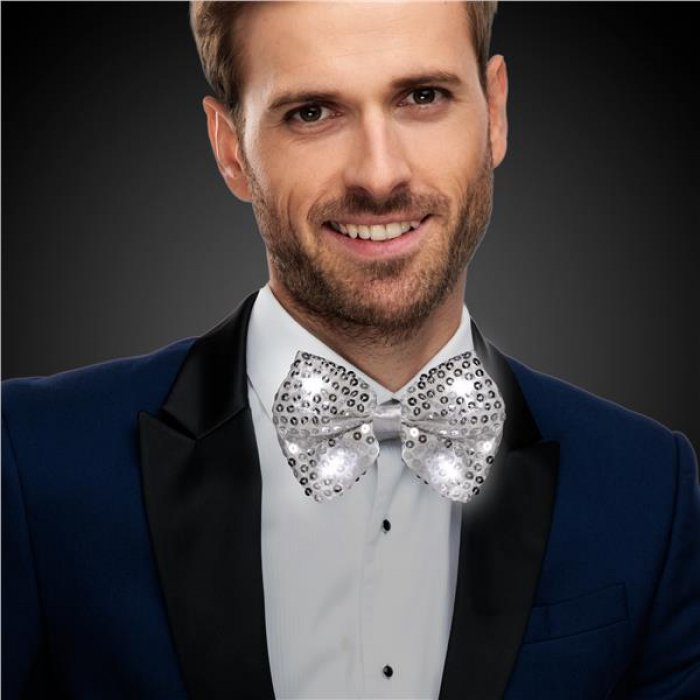 LED Silver Sequin Bow Tie