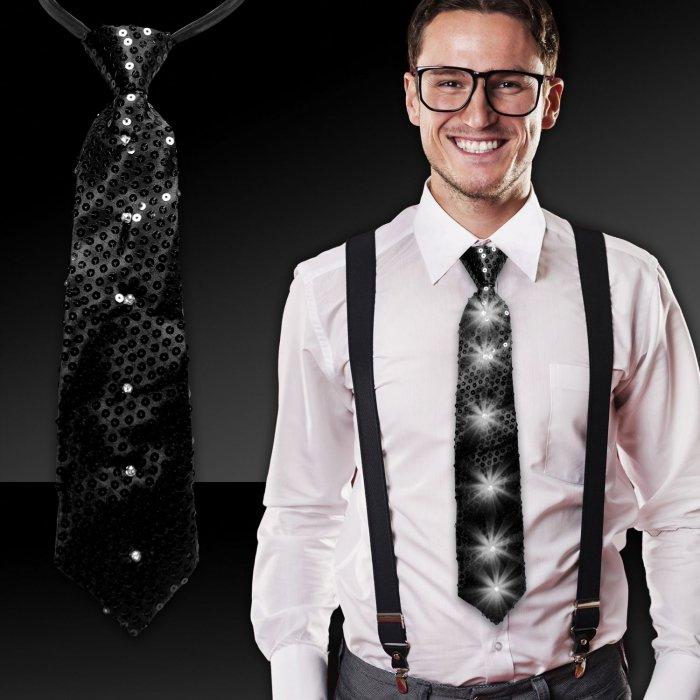 LED Black Sequin Necktie