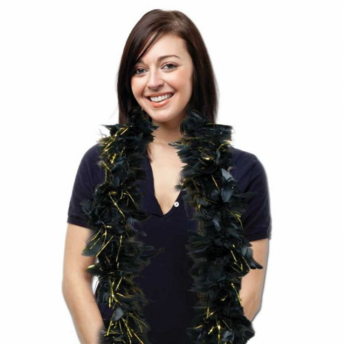 Black Feather Boa With Gold Tinsel