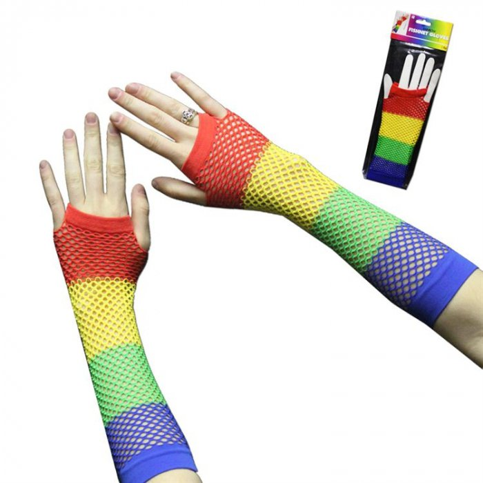 Rainbow Fishnet Fingerless Gloves (Per Pair)
