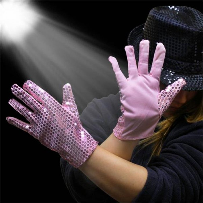 Pink Sequin Gloves (Per pair)
