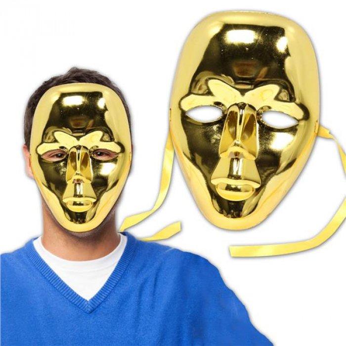 Gold Metallic Full Face Masks (Per 12 Pack)