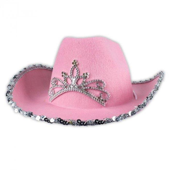 Light Up Flashing Pink Sequen LED Cowboy Cowgirl Hat July 4th Pink Leds Fun Cap