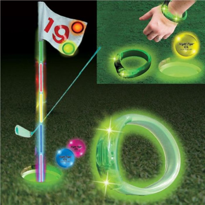 Green LED and Light - Up Golf Cup Rings (Per 9 pack)