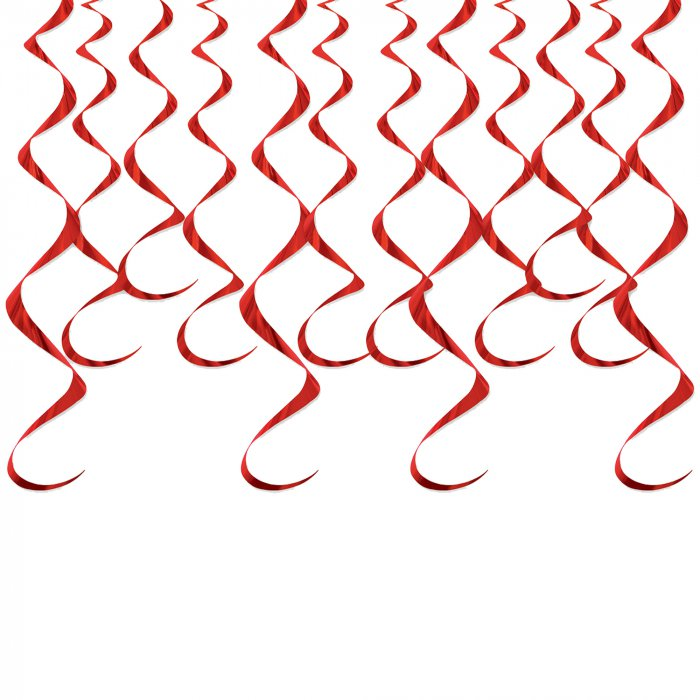 Red Whirl Decorations (Per 12 pack)