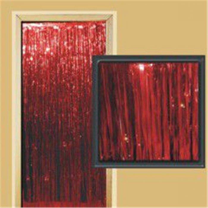 Red Metallic Fringed Door Curtain