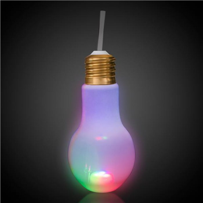 LED Light Bulb Cup with Lid and Straw