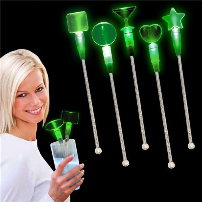 Green LED and Light - Up Heart Cocktail Stir Sticks (Per Piece)