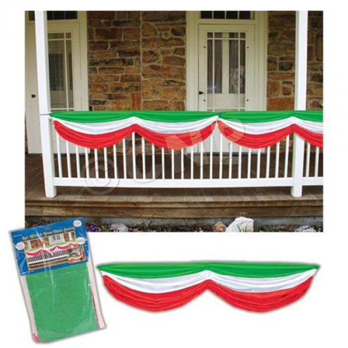 Red, White & Green Fabric Bunting Decoration