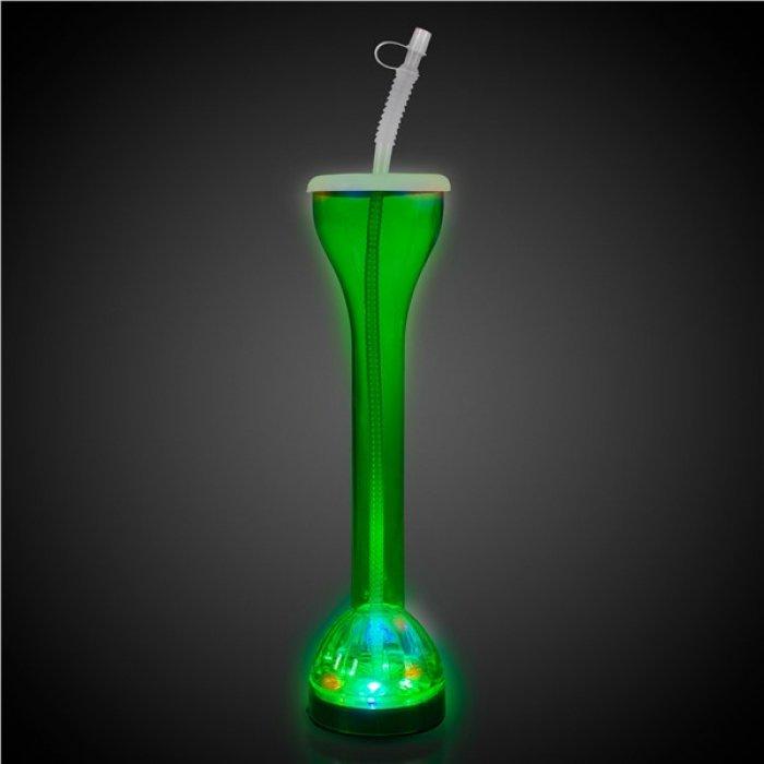 LED Green Flashing 17 oz Yard Glass