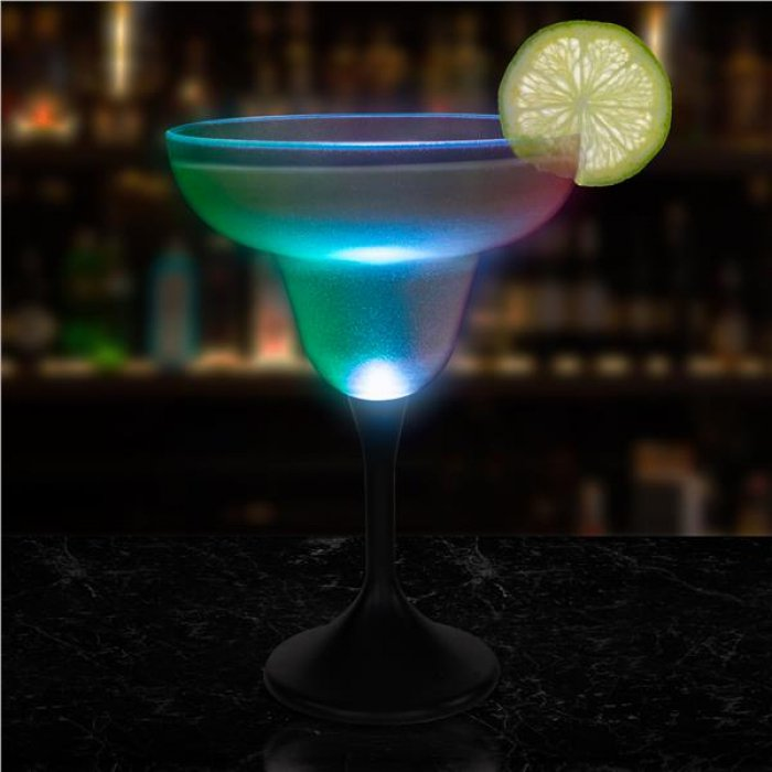 LED 10 oz Margarita Glass Black Stem