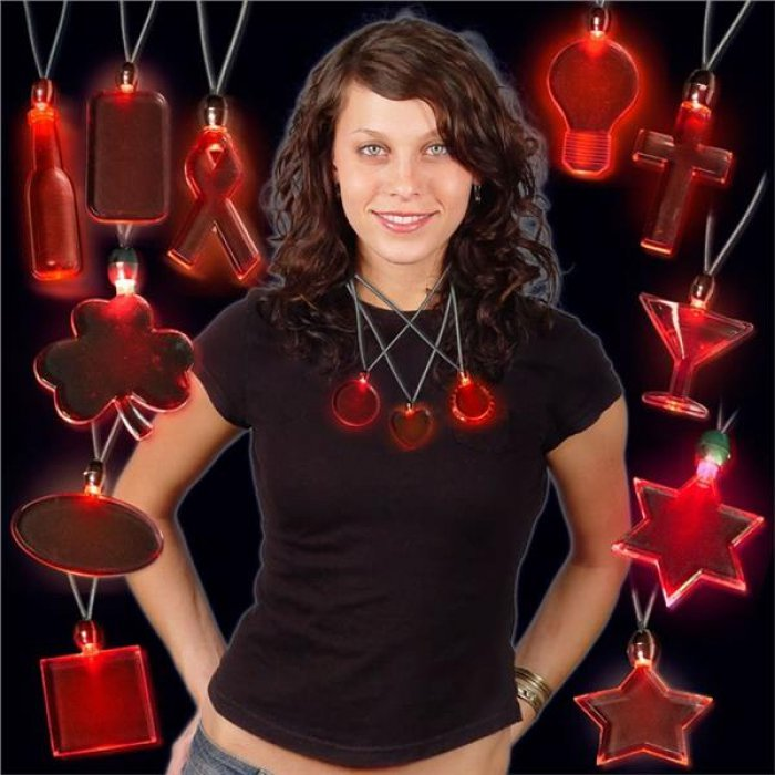 Red LED and Light - Up Heart Pendant Necklaces (Per Piece)