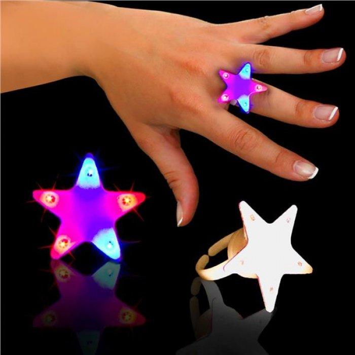 Red & Blue LED Light-Up Star Rings