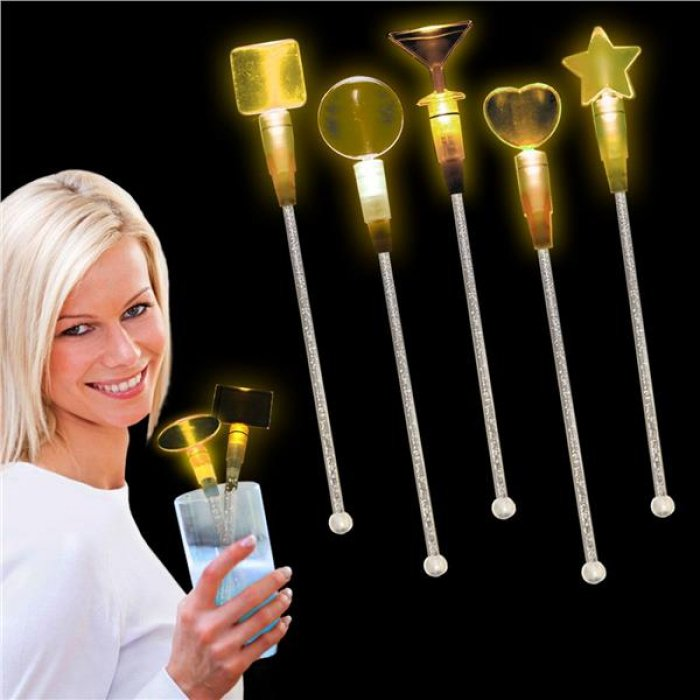 Yellow LED and Light - Up Oval Cocktail Stir Sticks