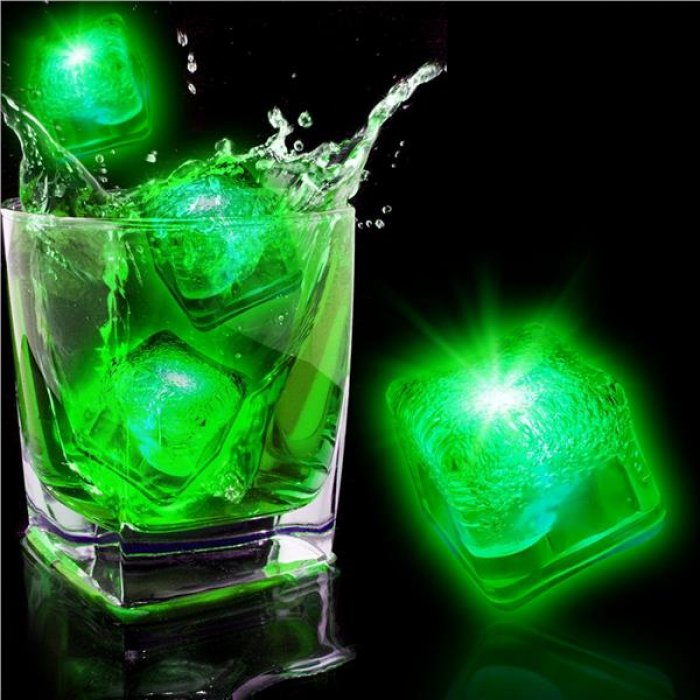 Neon Green LED Light-Up Ice Cubes