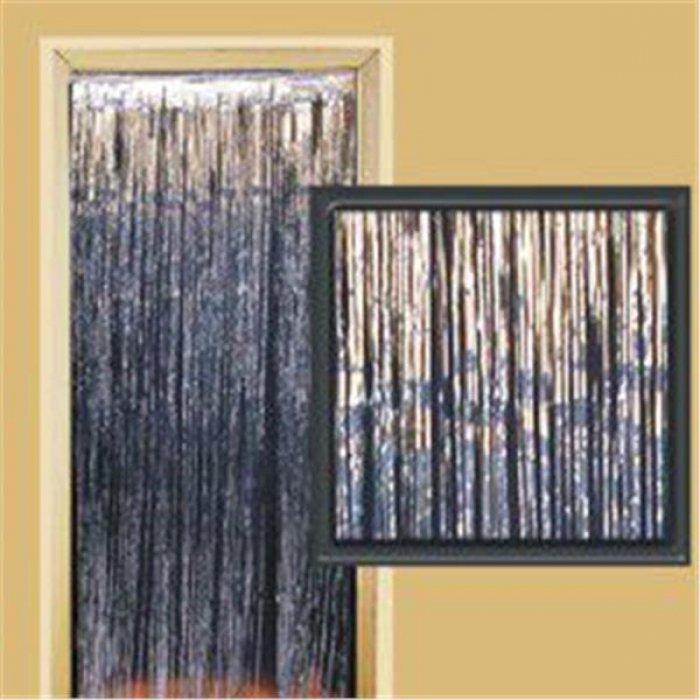 Silver Metallic Fringed Door Curtain
