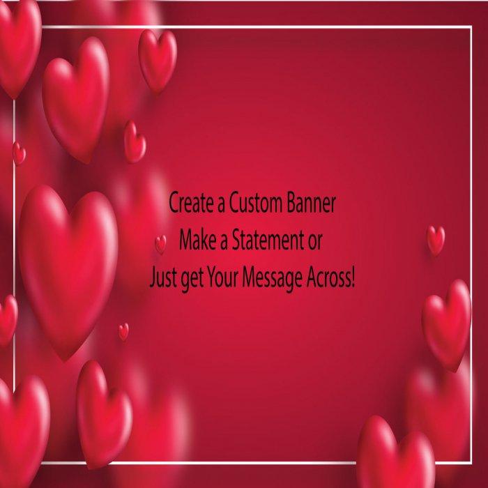 Red Valentine's Day Custom Banner - 12 x 24