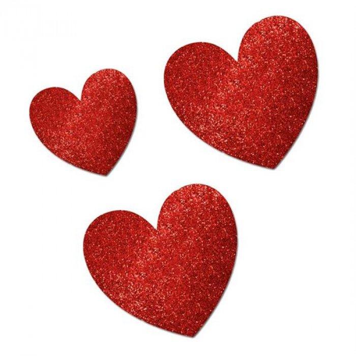 Red Glitter Heart Cutouts