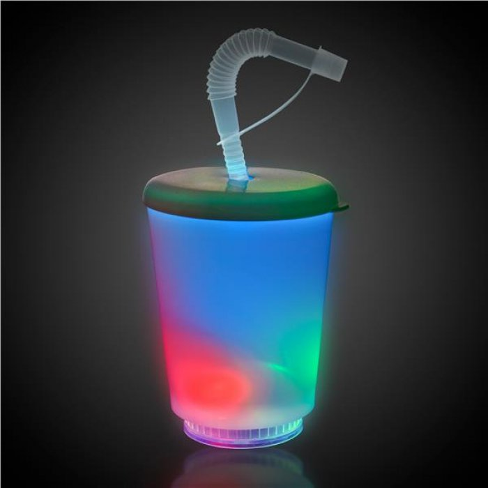 LED 12 oz Cup with Lid & Straw