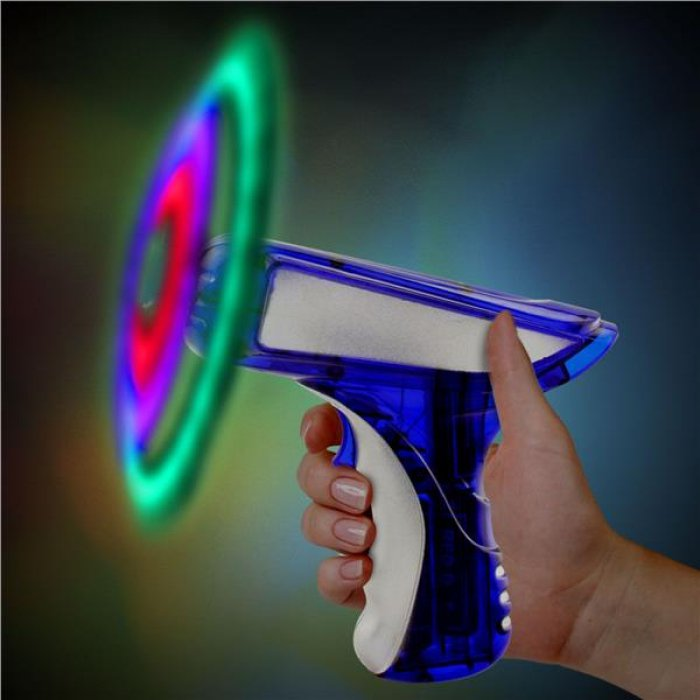 "Blue & Silver LED Spinning 6"" Toy Gun"