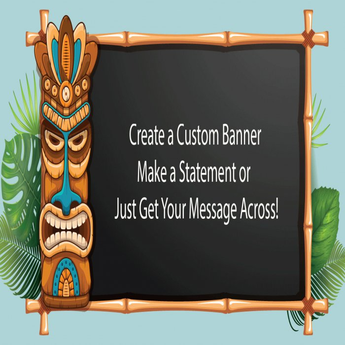 Tiki Party Custom Banner - 12 x 24