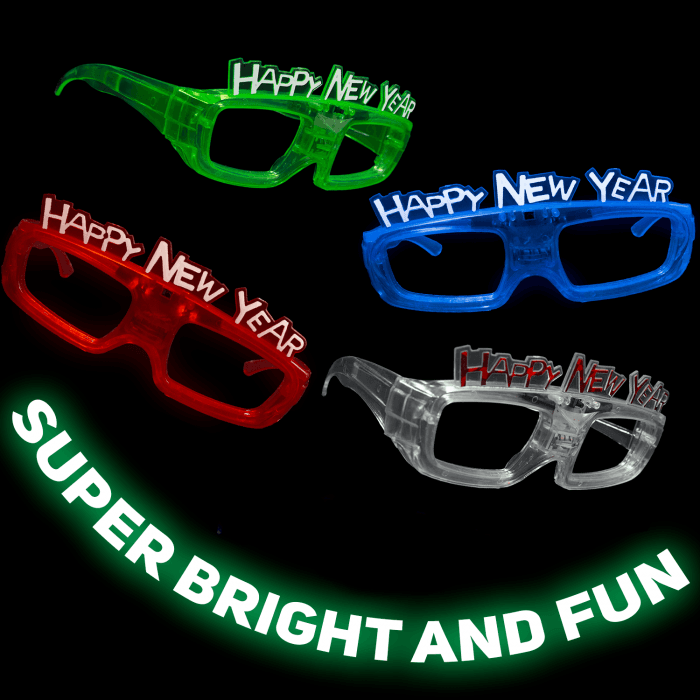 """Sound Activated Light-Up """"Happy New Year"""" Glasses"""