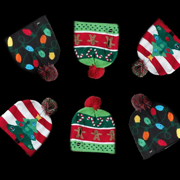 LED Light-Up Knitting Christmas Hats