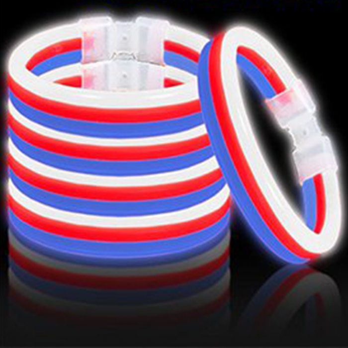 8 Inch Triple Wide Glowstick Bracelets - Red White And Blue