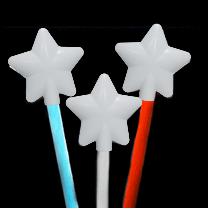 "12"" Glowing Magic Wands -Red, White & Blue (60 Pack)"