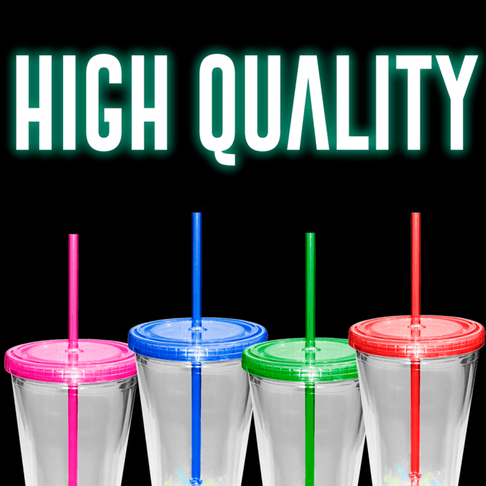 16 Oz Light-Up Flashing Tumbler Glasses