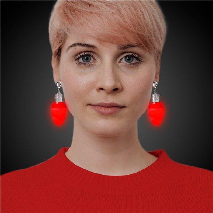 LED Red Bulb Clip-On Earrings (Per pair)