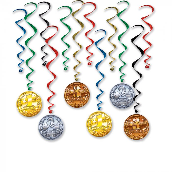 Award Medals Whirl Decorations (Per 12 pack)