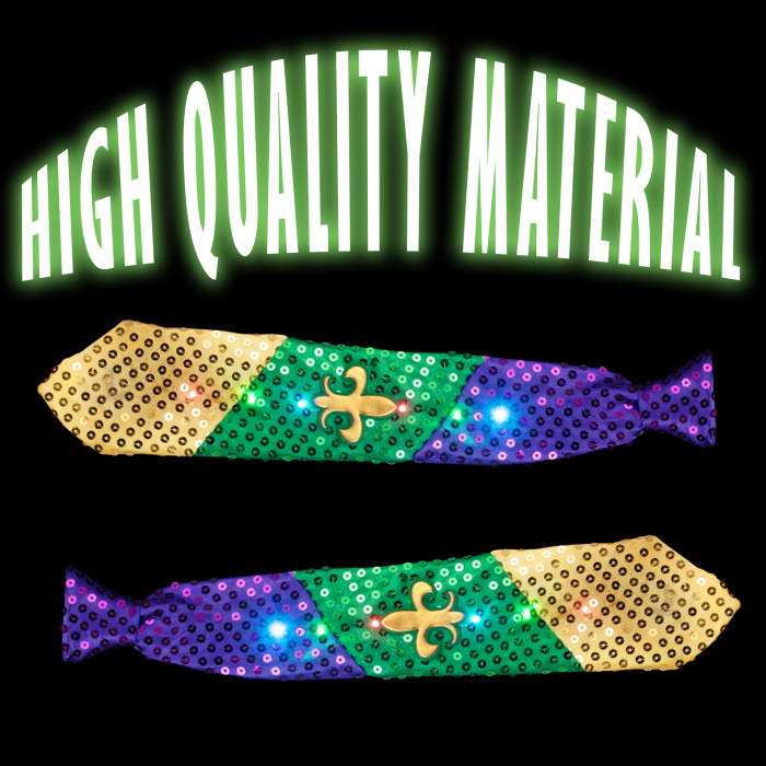 Light-Up Mardi Gras Necktie