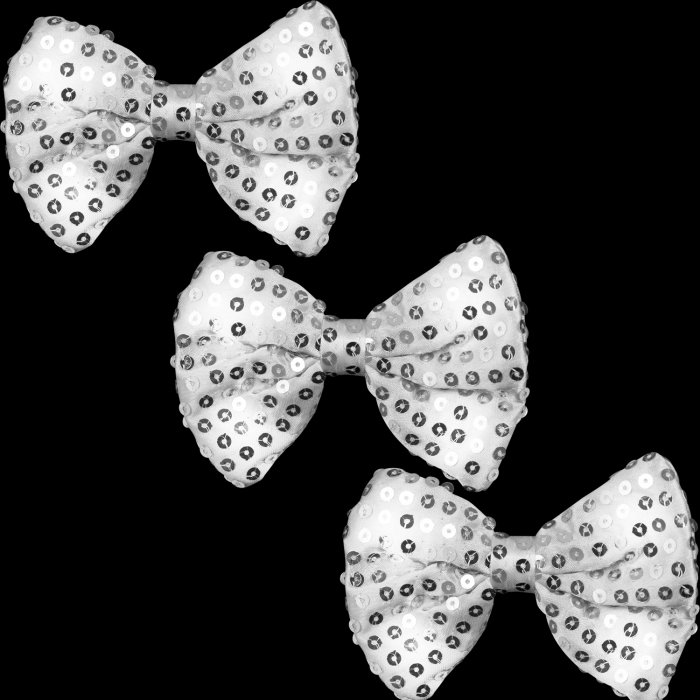 Light-Up Silver Sequin Bow Tie