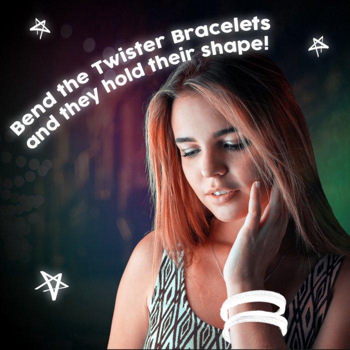 8'' Twister Glowstick Bracelets - White
