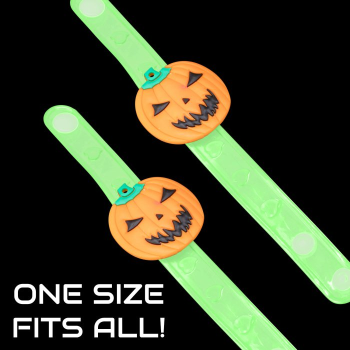 LED Light-Up Pumpkin Snap Bracelet