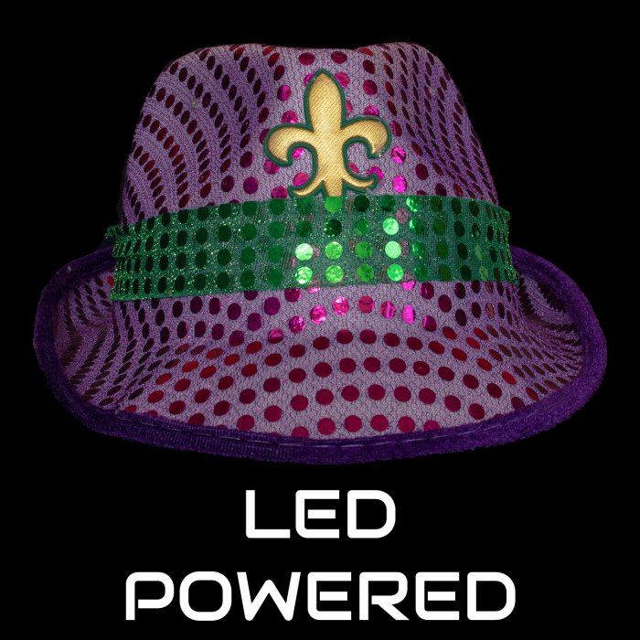 Light-Up Sequined Fleur De Lis Hat