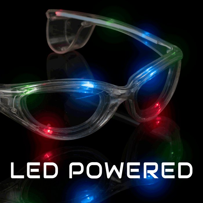 LED Flashing Eyeglasses - Clear